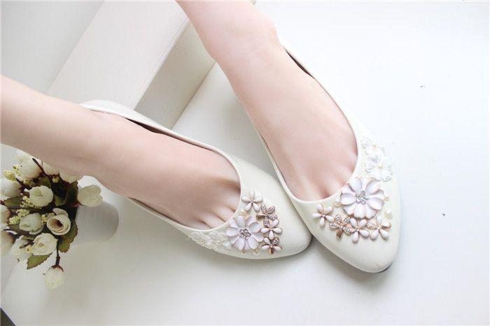 Fildişi Çiçek Düğün Ayakkabı Dantel El Yapımı 2015 Gelin Ayakkabıları Ucuz Custom Made Topuk Yükseklik Düz Kadın Düğün Ayakkab ...