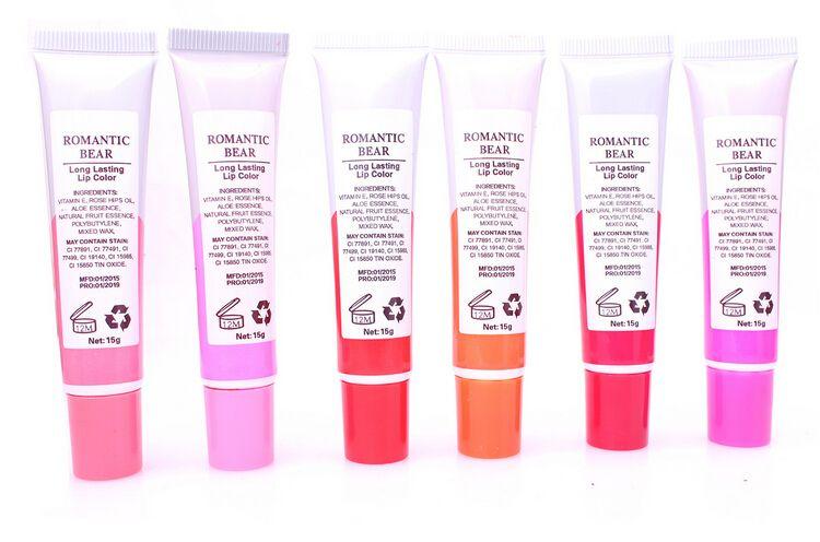 Hot Romantic Bear Lip Gloss Maquillaje 12 ml Tinte WOW Tinte de larga duración Lip Peel Off Pintalabios Labios completos Tatto Impermeable Brillo de labios