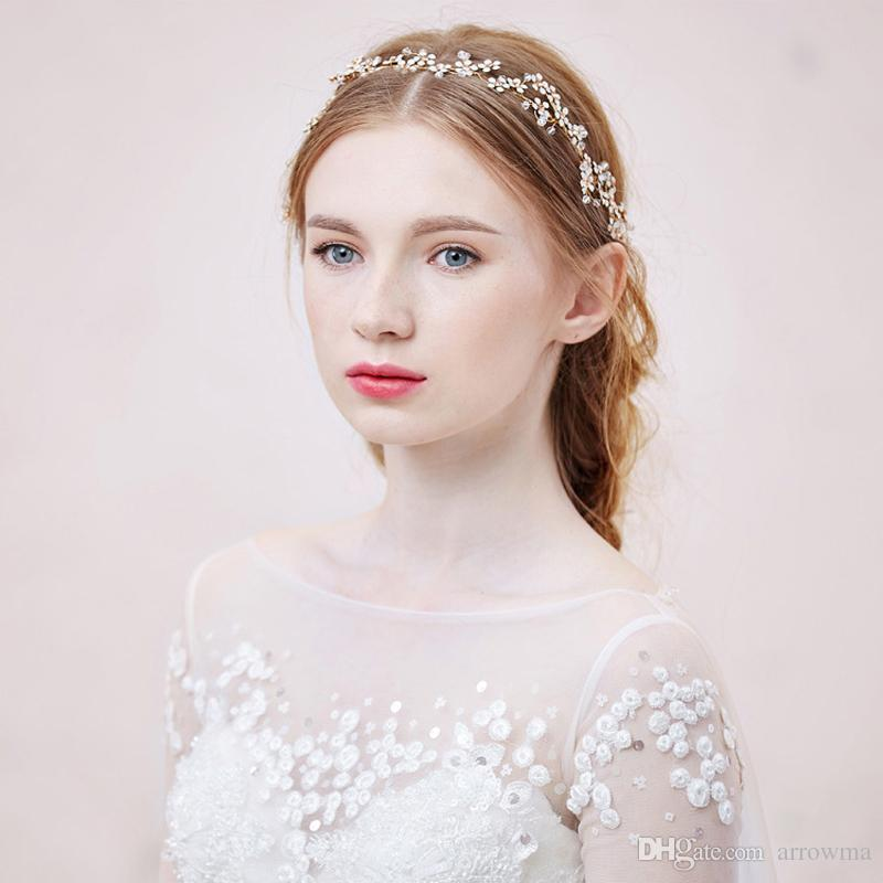 2016 tocados nupciales Wedding Headwear Gold Headbands Sexy Beads accesorios para el cabello Cheap Modest Ladies Ladies Hairwear para la boda Nuevo