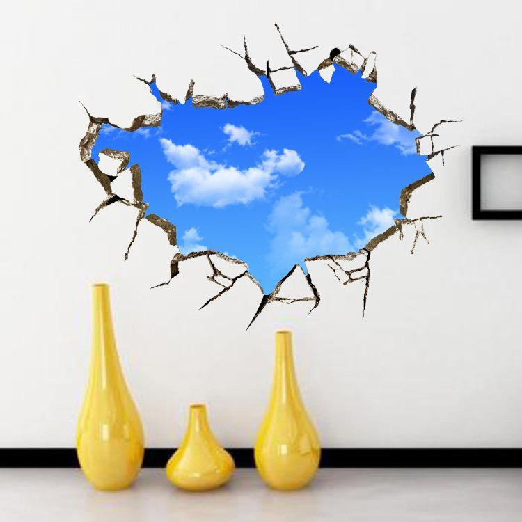 Extra Large Mur Nuage Blanc Bleu Ciel Stereo 3D Art Mural Décor plafond décoration autocollant Sofa fond Salon décorations pour les murs Applique