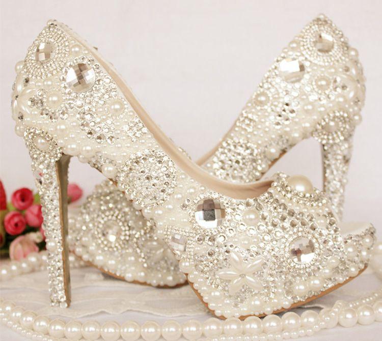 5efd802f91737 Peep Toe Rhinestone Wedding Shoes Crystal Ivory Pearl Bride Shoes Custom  Made Women High Heel Platforms Mother of the Bride Shoes