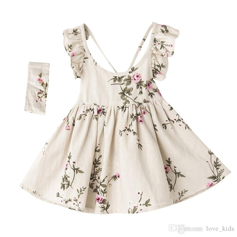 Summer New Style Baby Girls Dress Linen Sleeveless Kids Clothing Headband set Floral Girls Boutique Clothing Backless Baby Clothes