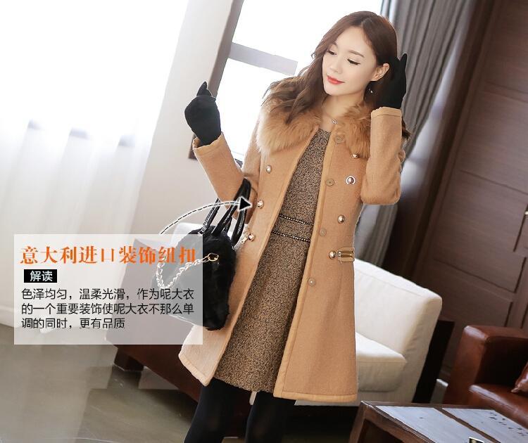 여성 코트 겉옷 겨울 2015 년 한국 여성 두꺼운 모직 코트 모피 칼라 더블 브레스트 슬림 롱 모피 트렌치 여성을위한 겨울 코트