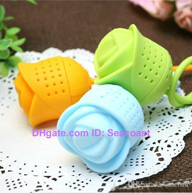 a Cute Silicone Rose Rose-shaped Flower Tea Ball Bag Filter Herbal Spice Tea Infuser Tool