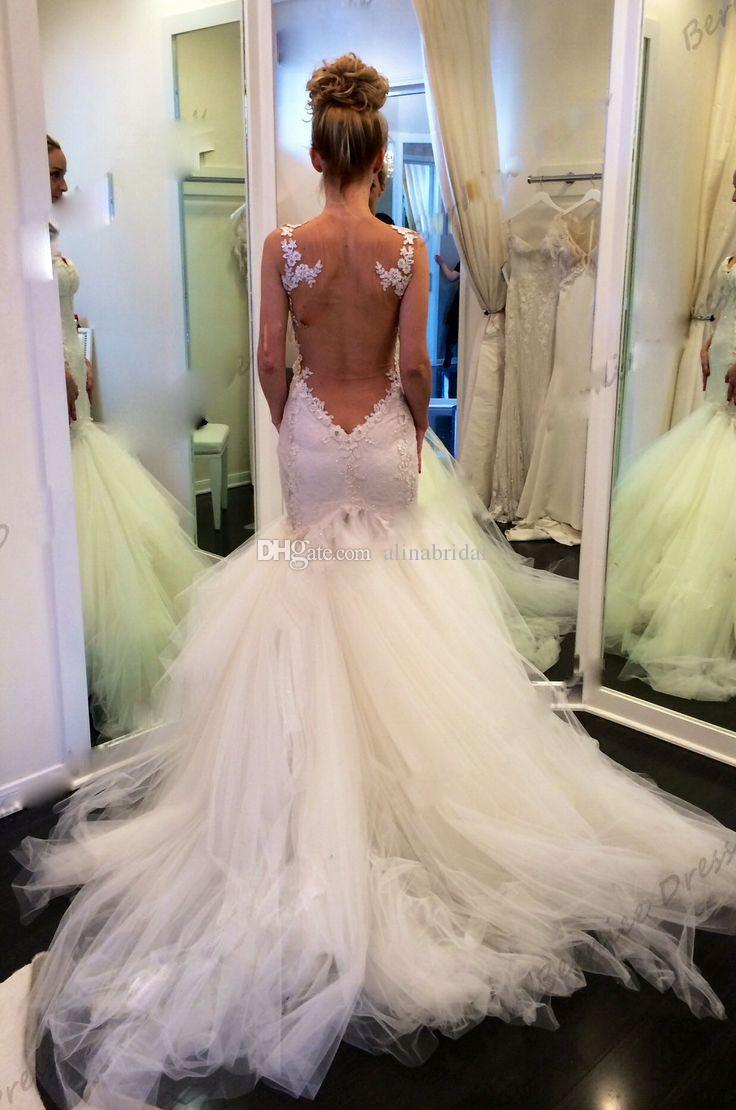 Vintage Koronki Mermaid Backless Suknie Ślubne Sheer Bolero Sweetheart Zobacz przez bufiasta ślubna suknia ślubna 2015 Vestidos de Novia