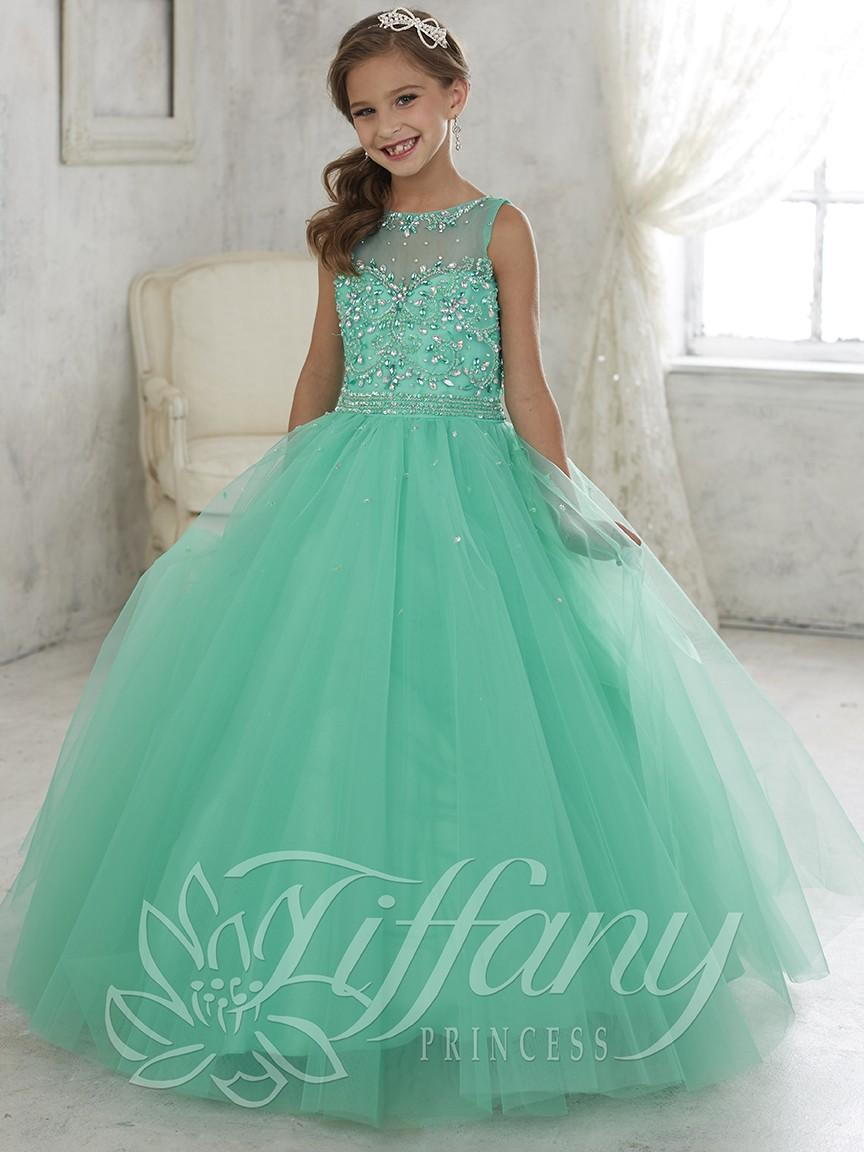 Beautiful Mint Green Ball Gown Girls Pageant Dress Lace Up Back ...