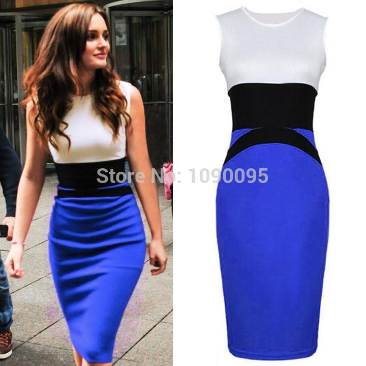 Trench Celeb Style Splicing Color Ladies Slimming Knee Length Sheath