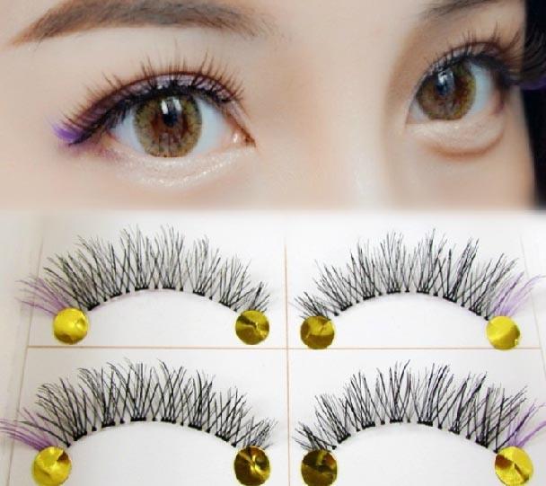 Sexy Eyes makeup black+purple false eyelashes natural cross eye lashes handmade fake eyelashes extension sexy wimpers lashes fake eyelashes