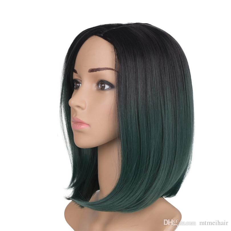 Synthetic Hair Wigs short green bob straight Heat Resistant Wigs For Black Women Mtmei hair ombre two tone color hair