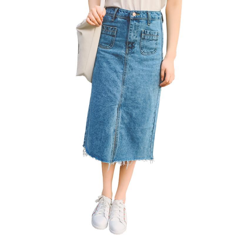 787c43d24a3ba1 2018 Été Mode Femmes Jupes Lavage Longue Denim Jupe Slim Paquet Hanche  Corps Jupe Marée Loisirs Jeans Jupe