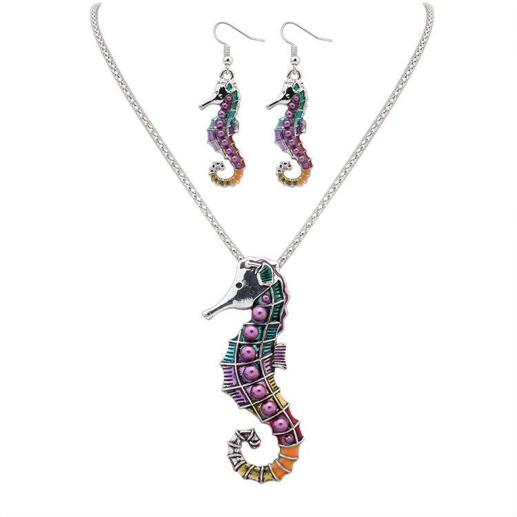 Fashion punk style 18KGP/ 925 silver lifelike Drip Rainbowful cute Sea horse shape jewelry set alloy necklace earrings accessories for women