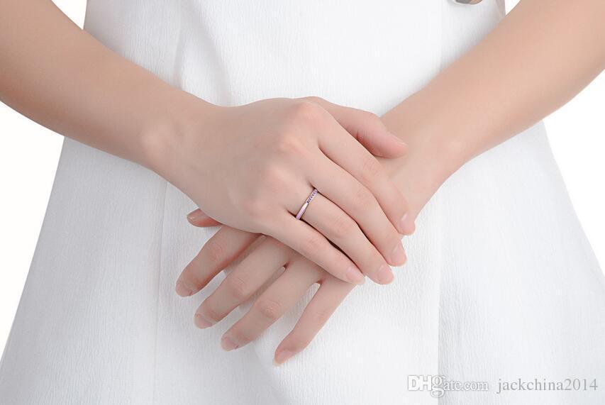 Boyutu 5-9 Lüks Takı 925 Ayar Gümüş Radyant Kalpler Orkide Pembe Emaye Cerase Kristaller Kadınlar Için Safir Parmak Yüzük Düğün Hediyesi