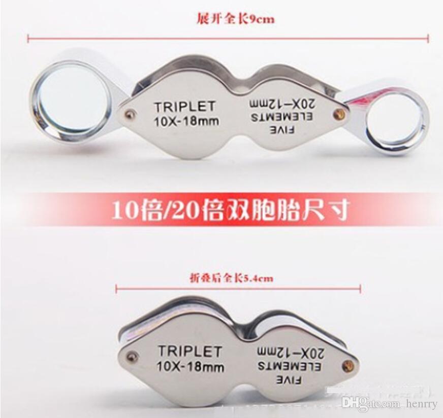 10回20回虫眼鏡折りたたみ双子20ピースAバッグ、スタイリッシュな金属顕微鏡、虫眼鏡ジュエリー評価MG22181