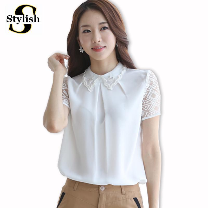 Compre Estilo De Corea Del Verano De La Blusa De La Gasa Blanca ...