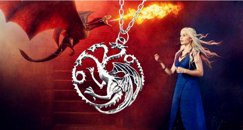 2015 new Flim Jewelry Daenerys Targaryen Dragon Necklace Game of Throne Fire And Blood