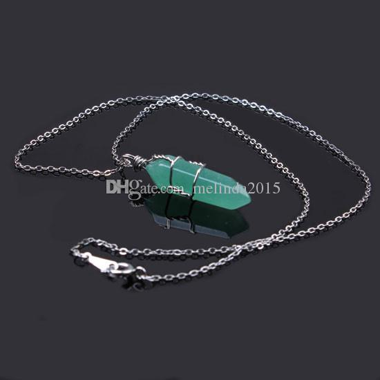 Aventurine Natural Stone Hexagon Prism Reiki Pendulum Windings Pendant Necklace Chain Charms Healing Chakra Amulet Jewelry