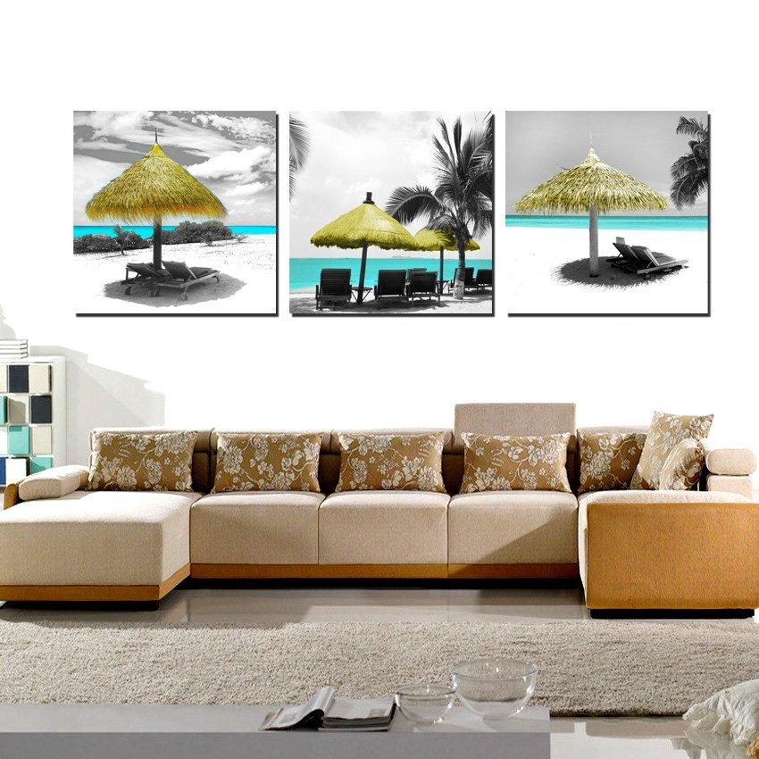 3 조각 현대 그림 예술 그림 페인트에 캔버스 인쇄 모란 꽃 모래 해변 양산 녹색 나무 자연 경관 산 민들레