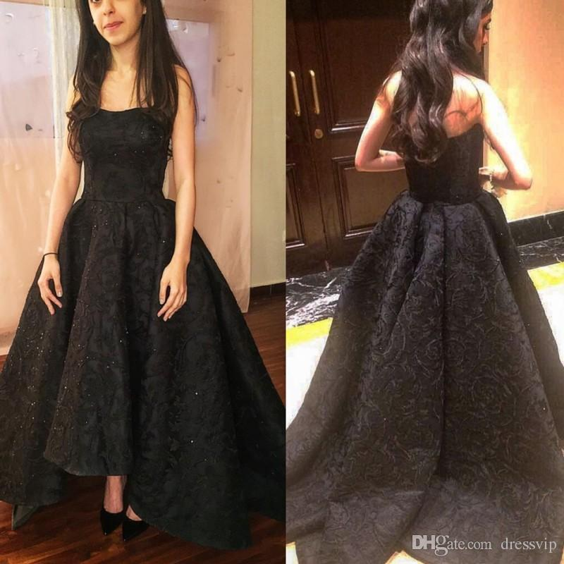 Little Black Strapless Hi Lo Evening Gown Lace Applique Beads Custom ...