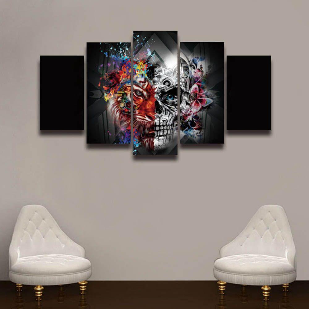Großhandel 5 Panel Leinwand Malerei Digitale Kunst Tiger Blume ...