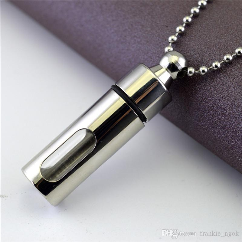 Titanium Storage Bottle Openable Bottiglie di profumo Pendenti Ash Urn Collana Glass Cylinder Lovers Gioielli Uomo Donna Coppie Regalo Keepsake