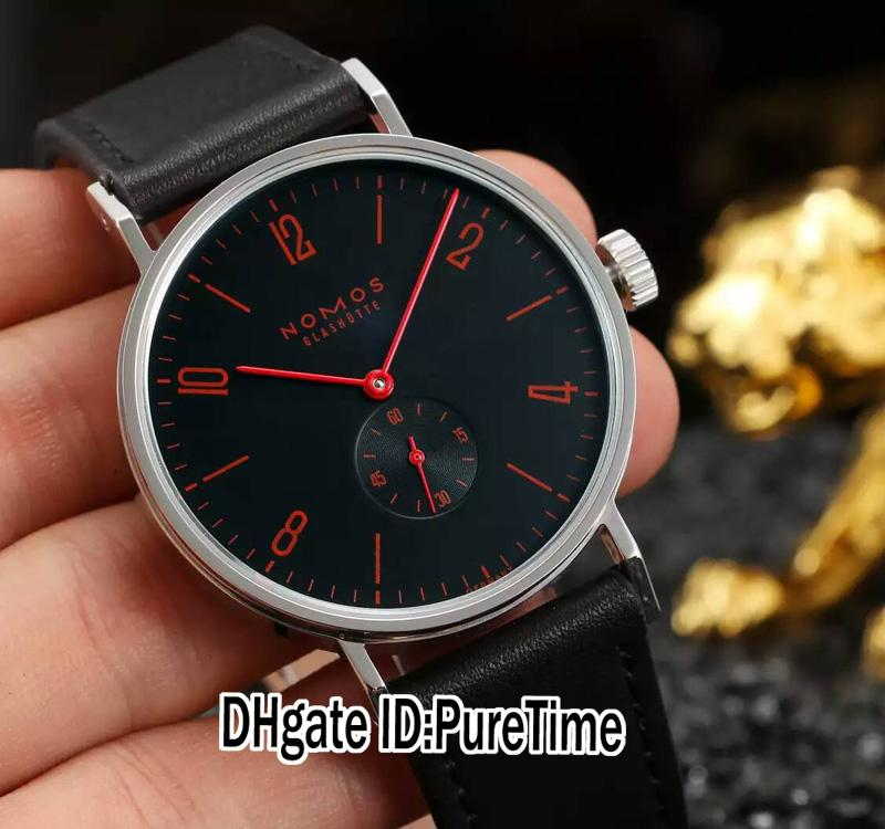New OS Factory V3 NOMOS Glashutte 930 Lambda Automatic Black Dial Red Hands Mens Watch Black Leather Strap Sapphire Glass NM03b