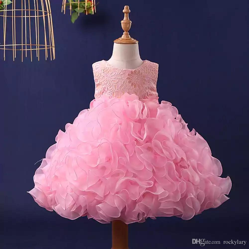 Großhandel Cute Pink Frilled Party Kleid Mädchen Formale Partei ...