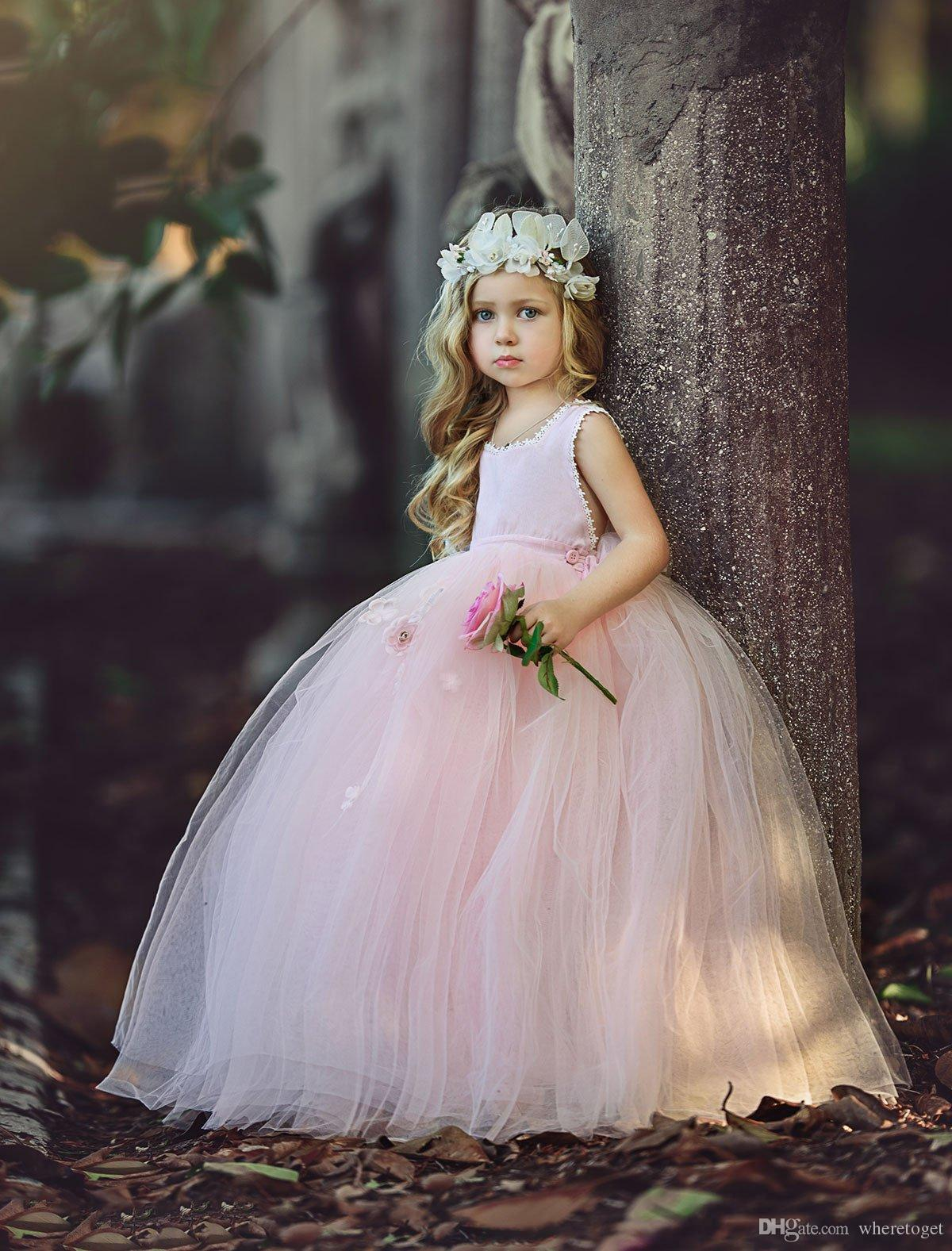 2018 Blush pink princess Ball Gown Flower Girls Dresses for weddings lace floor length Kids Pageant Gowns Little Girl Birthday Party Dresses