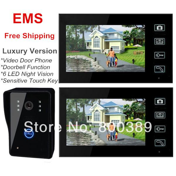 "EMS Free Shipping Luxury 7"" TFT Wireless 2.4GHz Digital Video Door Phone IR Camera Night Vision Doorbell Intercom With Touch Key"