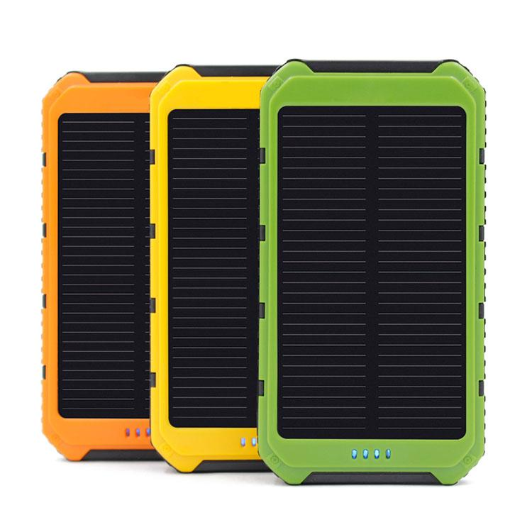 New Style Full 20000mAh Power Bank Ultra-thin Waterproof Solar Power Banks 2A Output Cell Phone Portable Charger Solar Powerbank