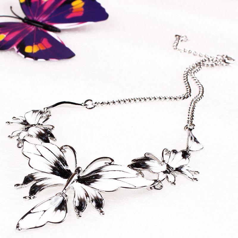 Più nuovo Mood Epossidico Stile Dichiarazione Collana + Orecchini Gioielli Set Moda Elegante Buterfly Collana Partito Gioielli Collare Le Donne L9289