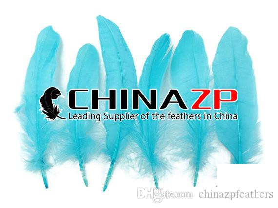 Newest plumage CHINAZP Crafts Factory 100% Exporting Length 10~15cm4~6inch Best Quality DIY Dyed Blue Goose Wing Loose Feathers