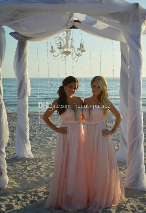 Beach Style A Line Sweetheart Long Pink Chiffon Bridesmaid Dresses With Crystal Beaded Prom Dresses With Sleeveless