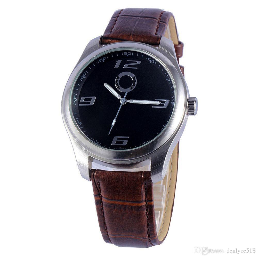 Хорошее качество популярный автомобиль Бен логотип мужской кожаный ремешок кварцевые наручные часы 505
