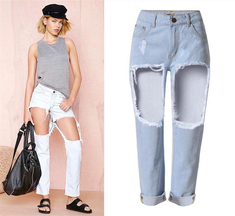 2017 Big Holes In Thighs Loose Straight Boyfriend Jeans Midnight ...