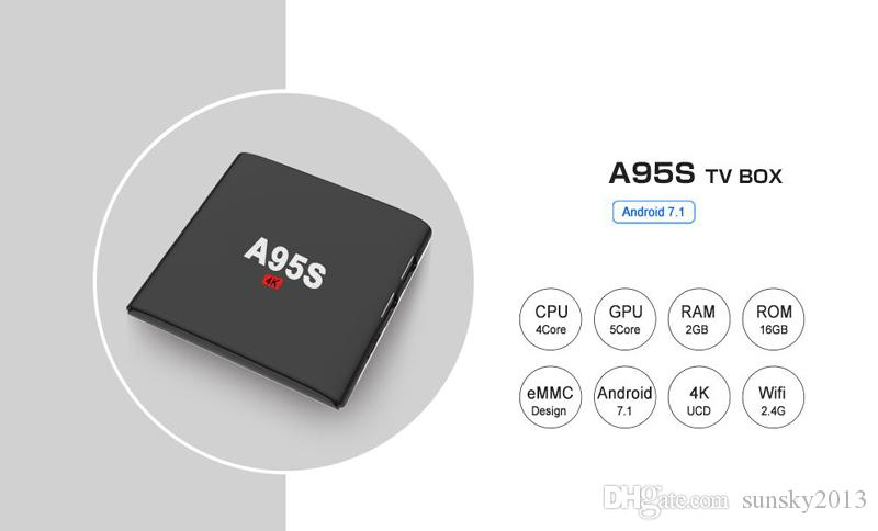 A95S Android 7.1 TV Box Amlogic S905W Quad-Core 2G 16G Smart Mini PC Wifi H.265 Streaming Media Player 4K*2K Home Movie Android7.1 TVbox
