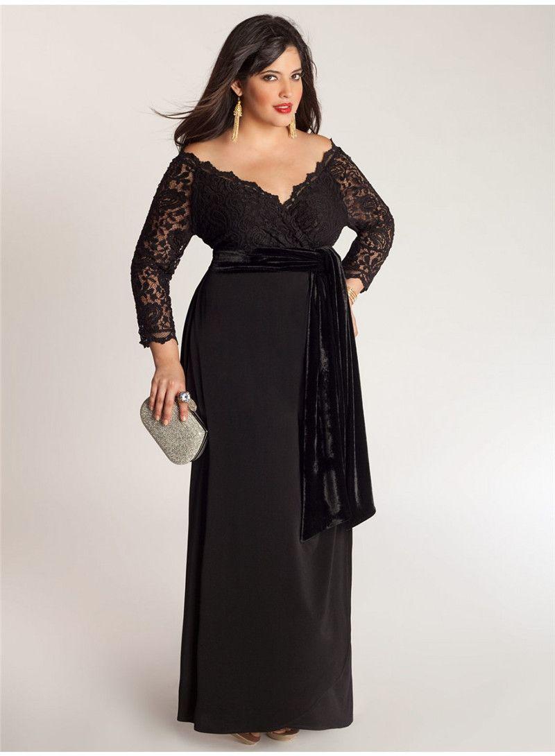 Elegant A-Line Plus Size Special Occasion Dresses Lace Top Sash Off-Shoulder V-Neck 3/4 Long Sleeve Ankle-Length Ladies Formal Prom Gowns