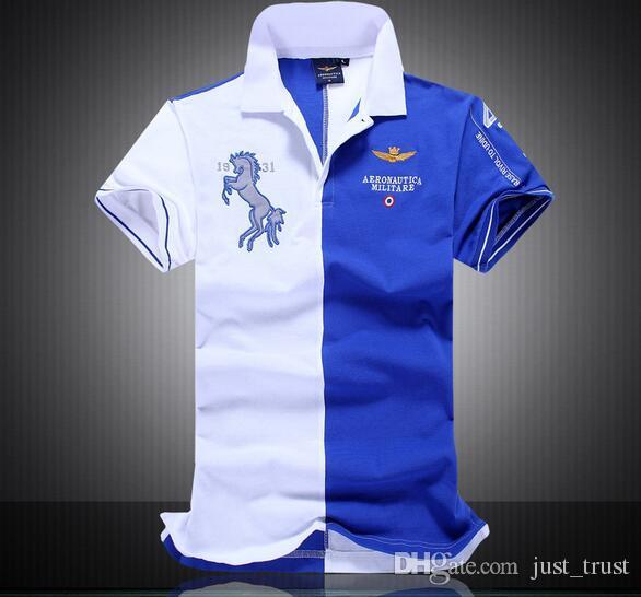2016 neue männer Air Force Armee Stickerei Polos Shirts Mode patchwork Golf männer Tees Polos Hiphop Pferd Polo T shirts für mann