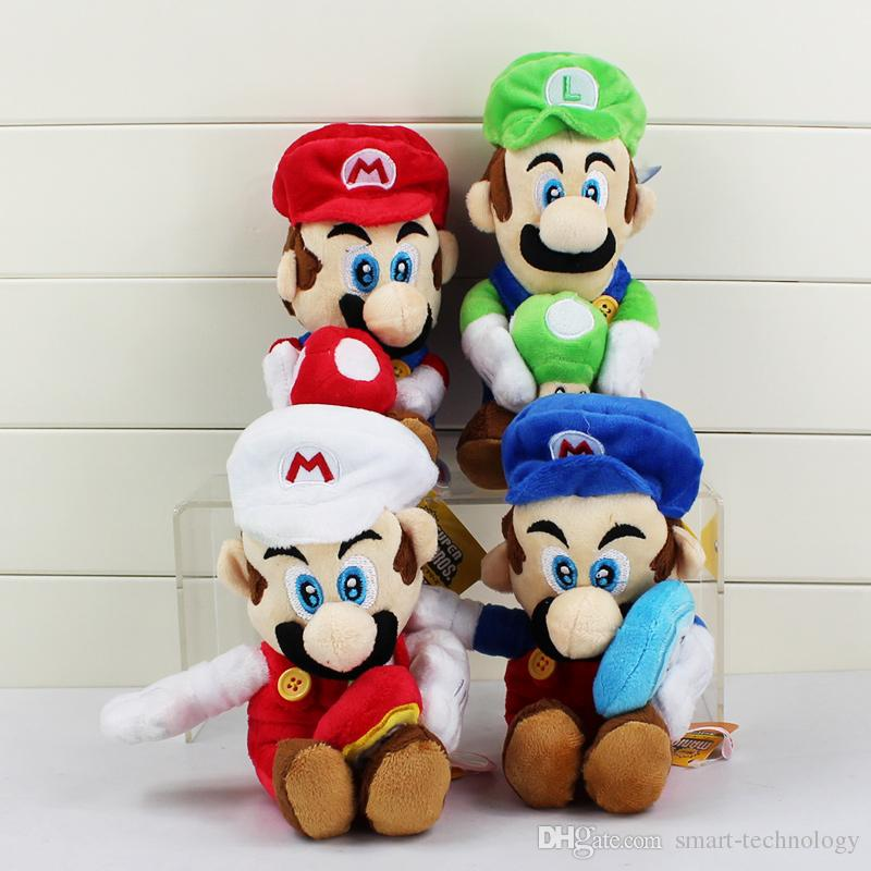 Super Mario Bros Mario Luigi Stuffed Plush Dolls Toys Holding Mushroom & Flower Kids Toy Great Gift 20cm