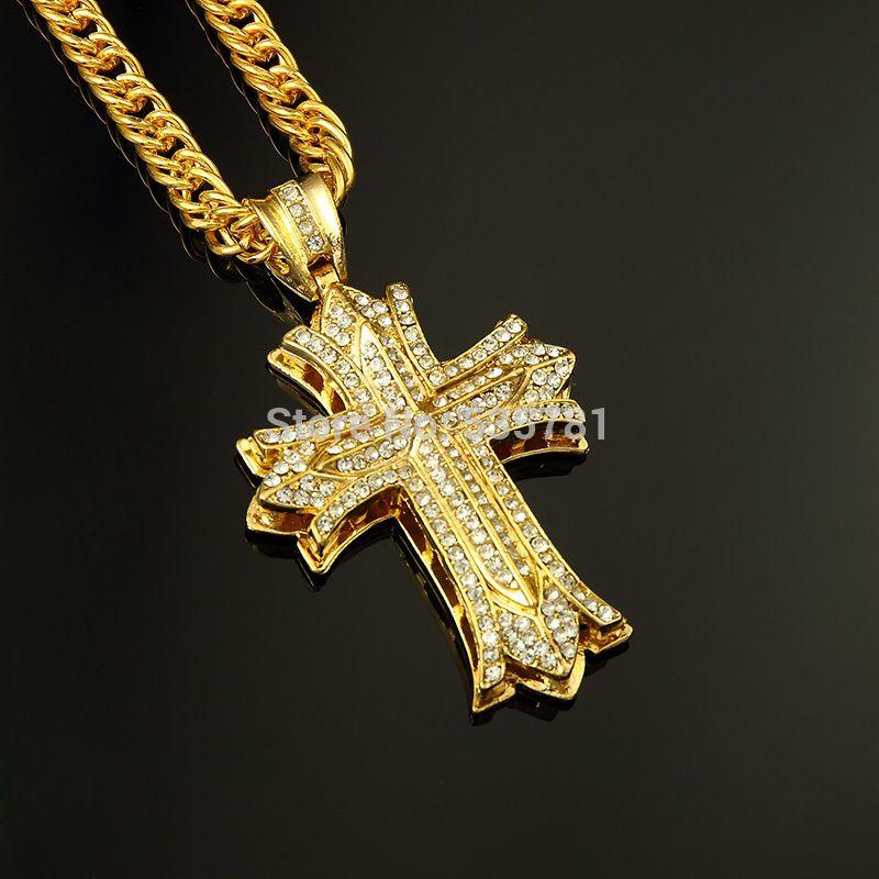 24k Gold Cross Necklace Mens