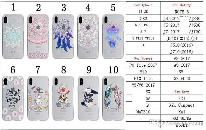 Soft TPU Silicone Case For Huawei P8 Lite 2017 P10 Lite Y5 Y6 2017 Mate 10 Dreamcatcher Lace Flower Feather Unicorn Rainbow Cartoon Cover
