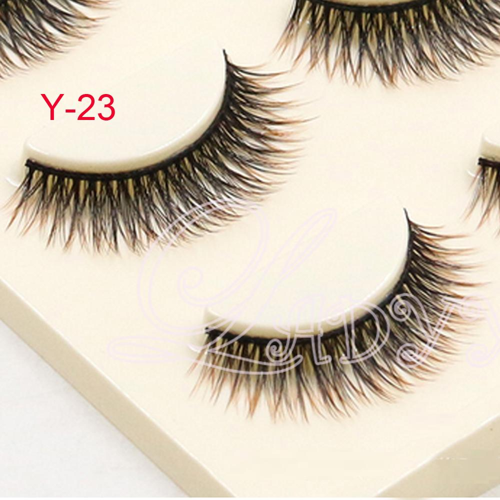 Y-23 3 pair/pack Sexy black purple mixed artificial false eyelashes.fake eyelashes accessory.