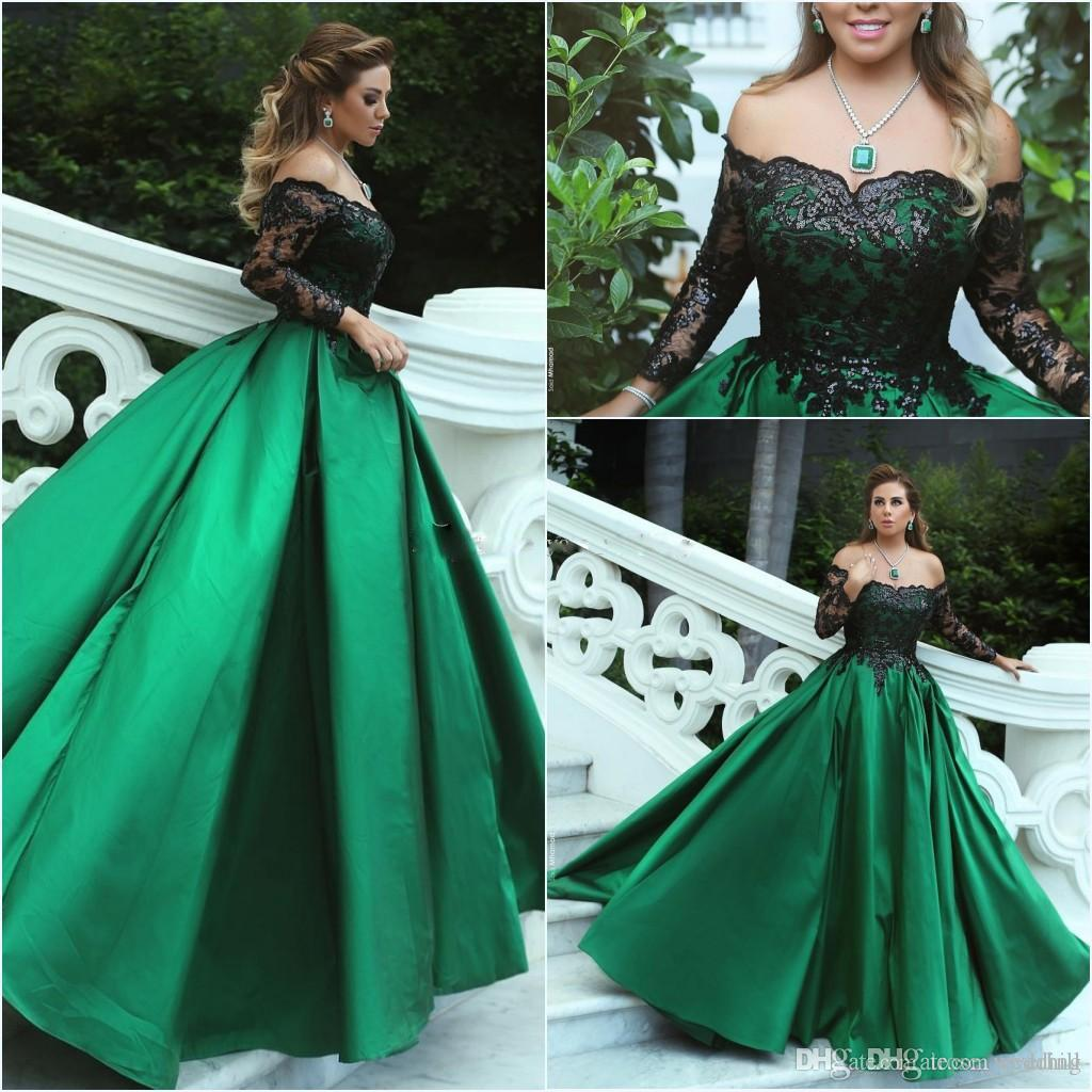 Robe Dubai Sexy Green Long Sleeve Evening Gowns Long Black Sequins Off  Shoulder Formal Party Evening Dresses Satin 2018 Robe Longue Soiree Stylish  Evening ... 1460397202b7