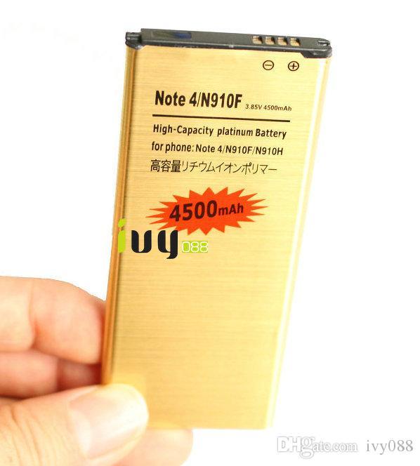 1x 4500mAh EB-BN916BBE Goudvervanging batterij + oplader voor Samsung Galaxy Note 4 IV N910 N910F N910H N910S N910T N910V N910A N910C N910G