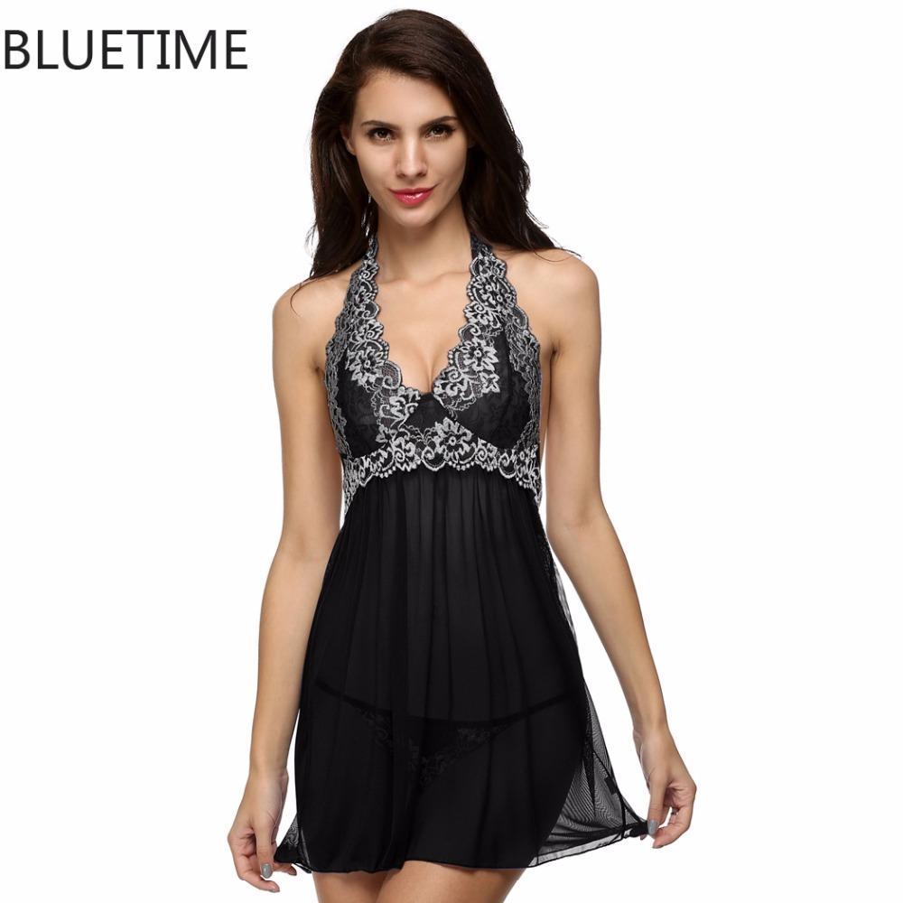 c9ca617bb2 Wholesale- Embroidery Sexy Night Dress Sleepwear Halter Nightgown ...