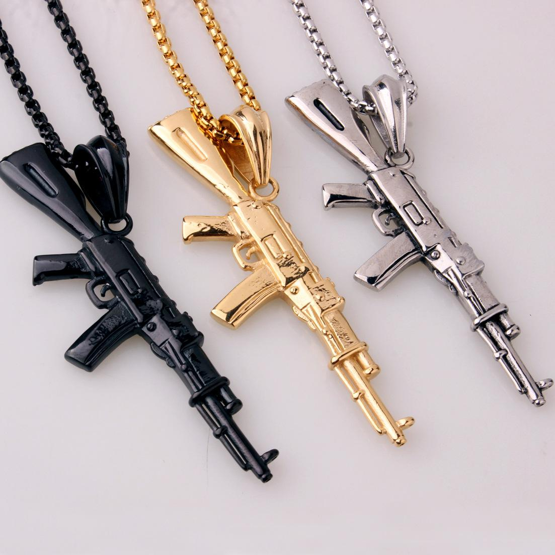 The Army Men's Jewelry Necklace Submachine Gun Hip-hop AK47 Assault Rifle Gold Black Titanium Steel Pendant