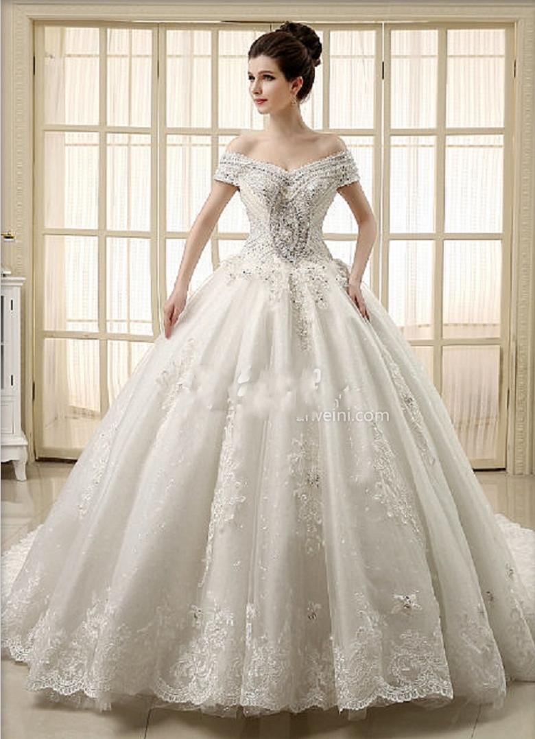 2015 Ball Gown Wedding Dresses Beaded Crystal Cathedral Train Bridal ...