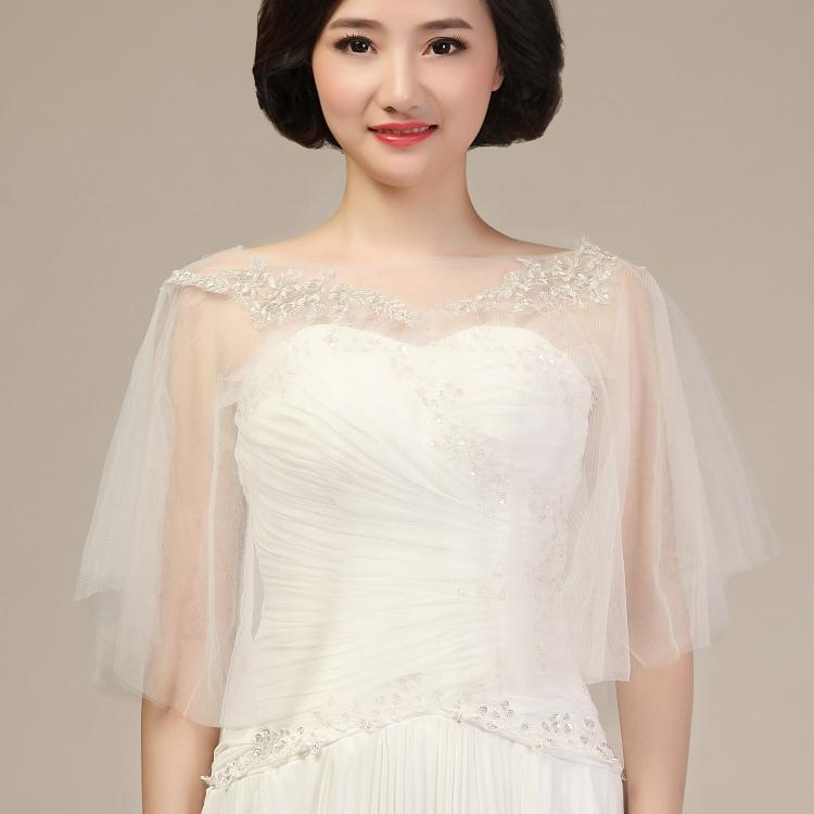Wedding Gown Wraps: 2018 Elegant Bridal Wraps & Jackets Soft Tulle Appliques