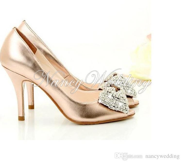 Najnowsze kobiety Wygodne złoto błyszczące błyszczące owczarek Rhinestone Buty ślubne Buty ślubne Letnie buty Wielkość UE 34-43