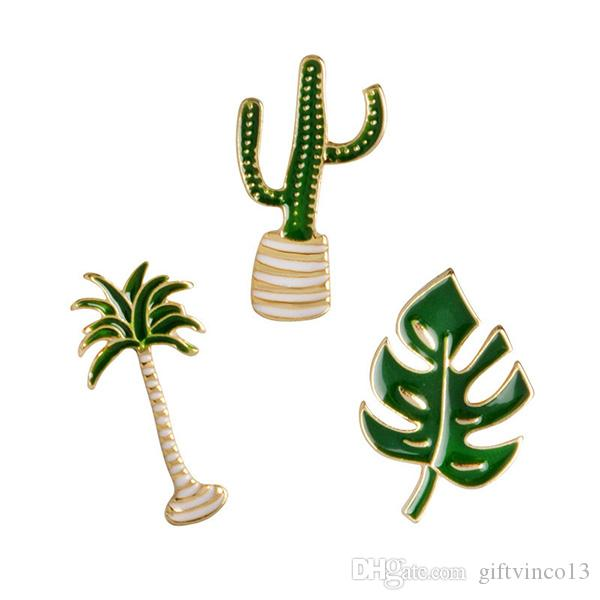 Potted Plants Enamel Brooch Pins Coconut Tree Cactus Leaves Green Metal Brooch DIY Button Pin Denim Jacket Pin Badge Gift Jewelry