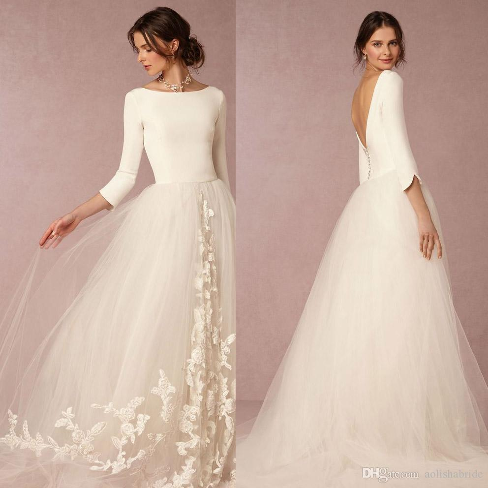 Discount 3 4 Long Sleeves Fitted Bodice Wedding Dresses Bateau Neck Backless Appliques Ivory Spandex And Tulle A Line Bridal Gowns Lace